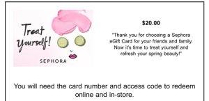 $100【Sephora eGift Cards】母亲节特惠买100美金礼卡送20美金礼卡