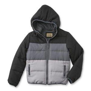 $11Roebuck & Co. Boys' Hooded Puffer Coat - Colorblock @ Walmart