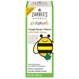 Amazon.com: Zarbee's Naturals Children's Cough Syrup + Mucus with Dark Honey, Natural Grape Flavor, 4 Fl. Ounces: Health & Personal Care