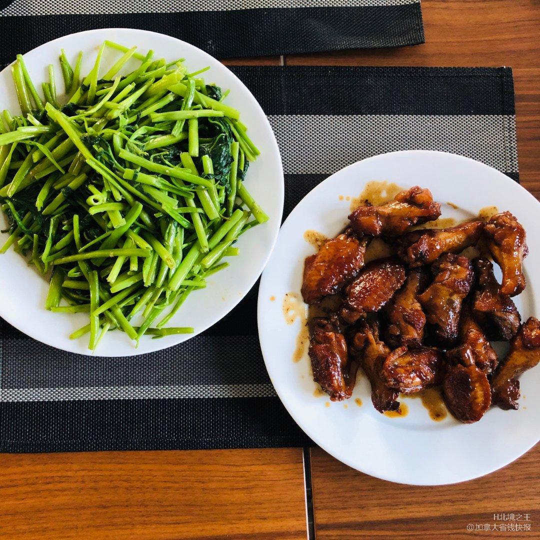 可樂雞翅+腐乳通菜