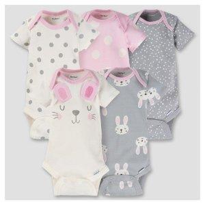 Baby Girls' 5pk Onesies® Bodysuit - Bunny - Gerber® : Target
