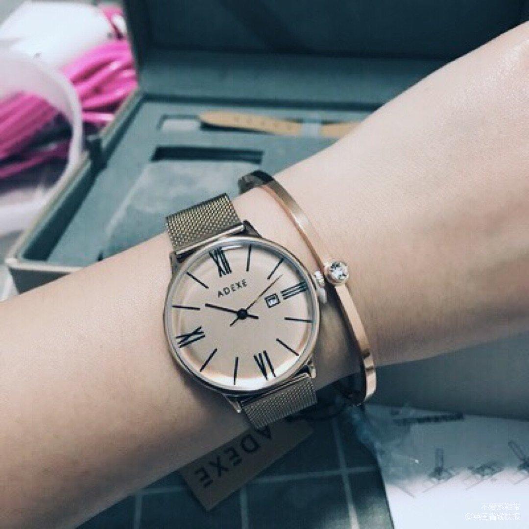 Adexe玫瑰金手表