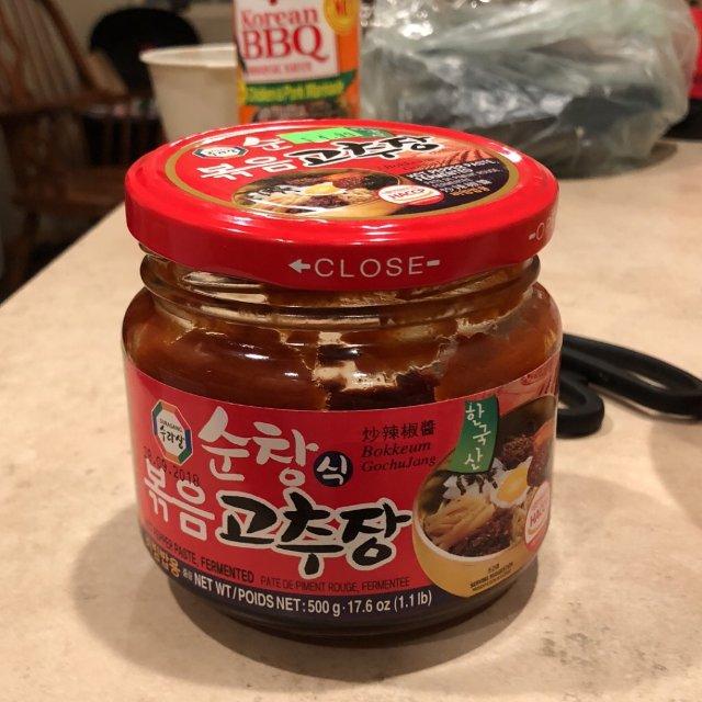 村里韩国店老板推荐的拌饭酱和腌牛肉...