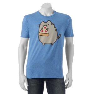 $6.00Pusheen 胖吉猫吃披萨男士T恤