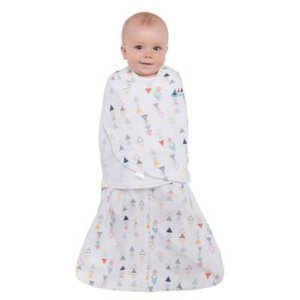 HALO® SleepSack® Triangles Multi-Way Adjustable Swaddle in White - BuyBuyBaby