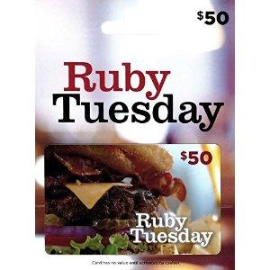 $40.00 相当于消费额外8折闪购:Ruby Tuesday 餐馆价值$50礼卡优惠