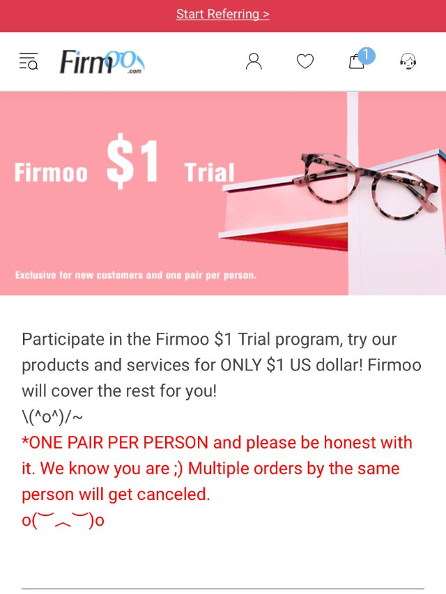 【Frimoo】网上$1购买眼镜体验分享