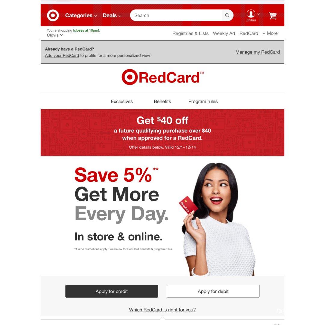 Target现在有开红卡之后消费满...