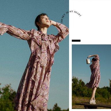 晒货同款紫色印花雪纺裙
