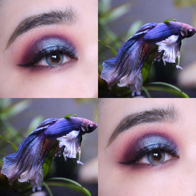 """画了一个""""斗鱼""""眼妆,果然大自然的..."""