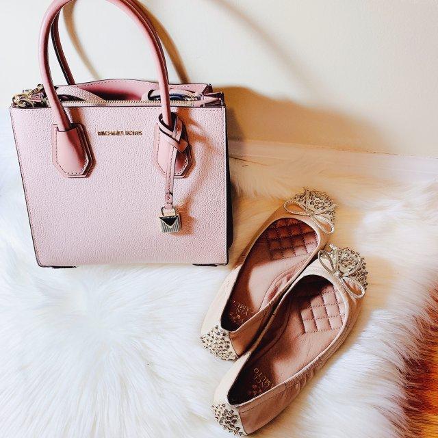 包鞋同色之百搭藕粉色