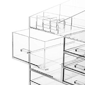 Amazon.com: Cq acrylic Extra Large 6 Tier Clear Acrylic Cosmetic Makeup Storage Cube Organizer with 8 Drawers. The Top of the Different Size of the Compartment, Suitable for Storing Lipstick and Makeup Brush