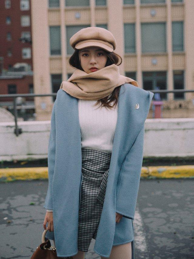 💙👀今冬性价比之王👑雾霾蓝全羊毛大衣💙