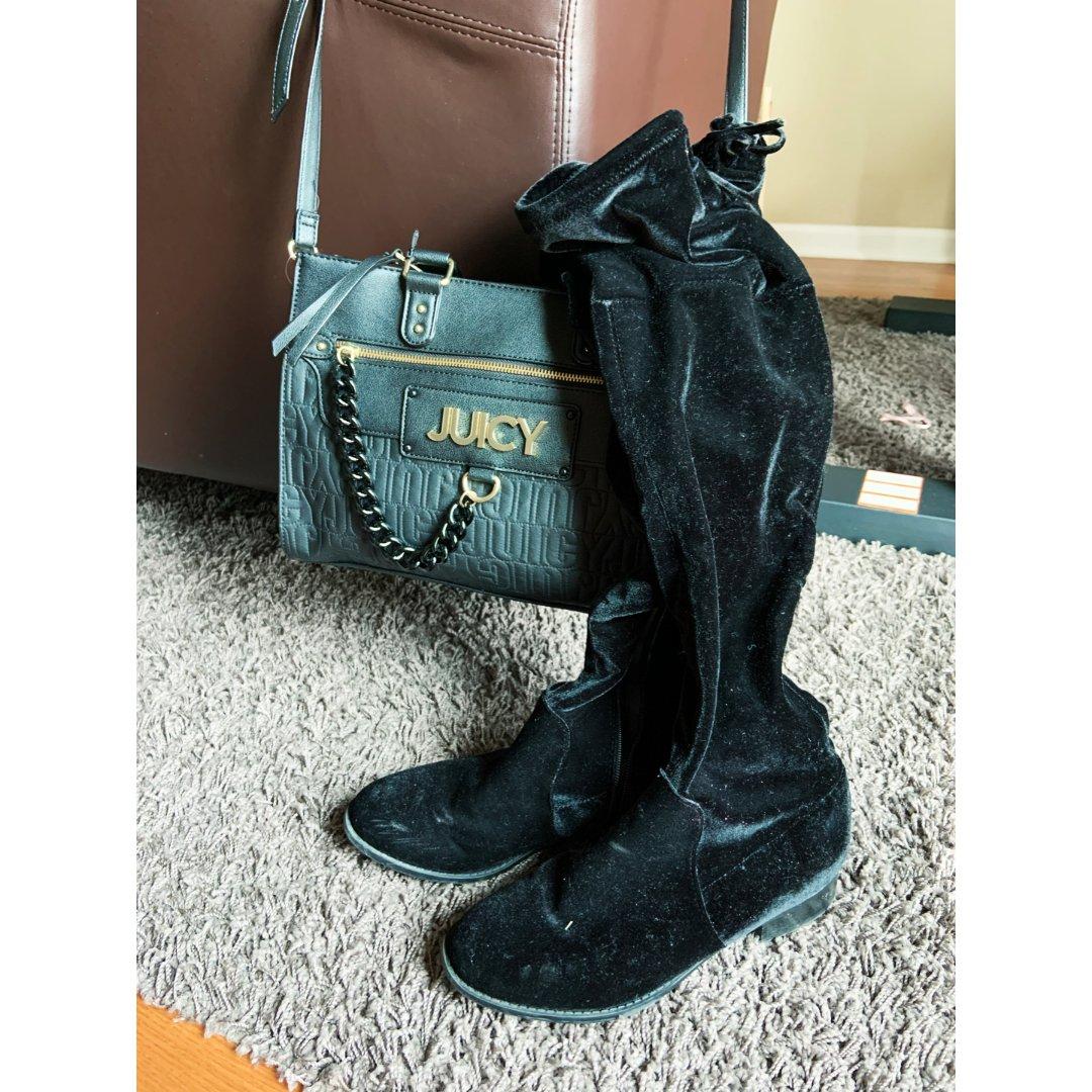黑色系包包和过膝长靴