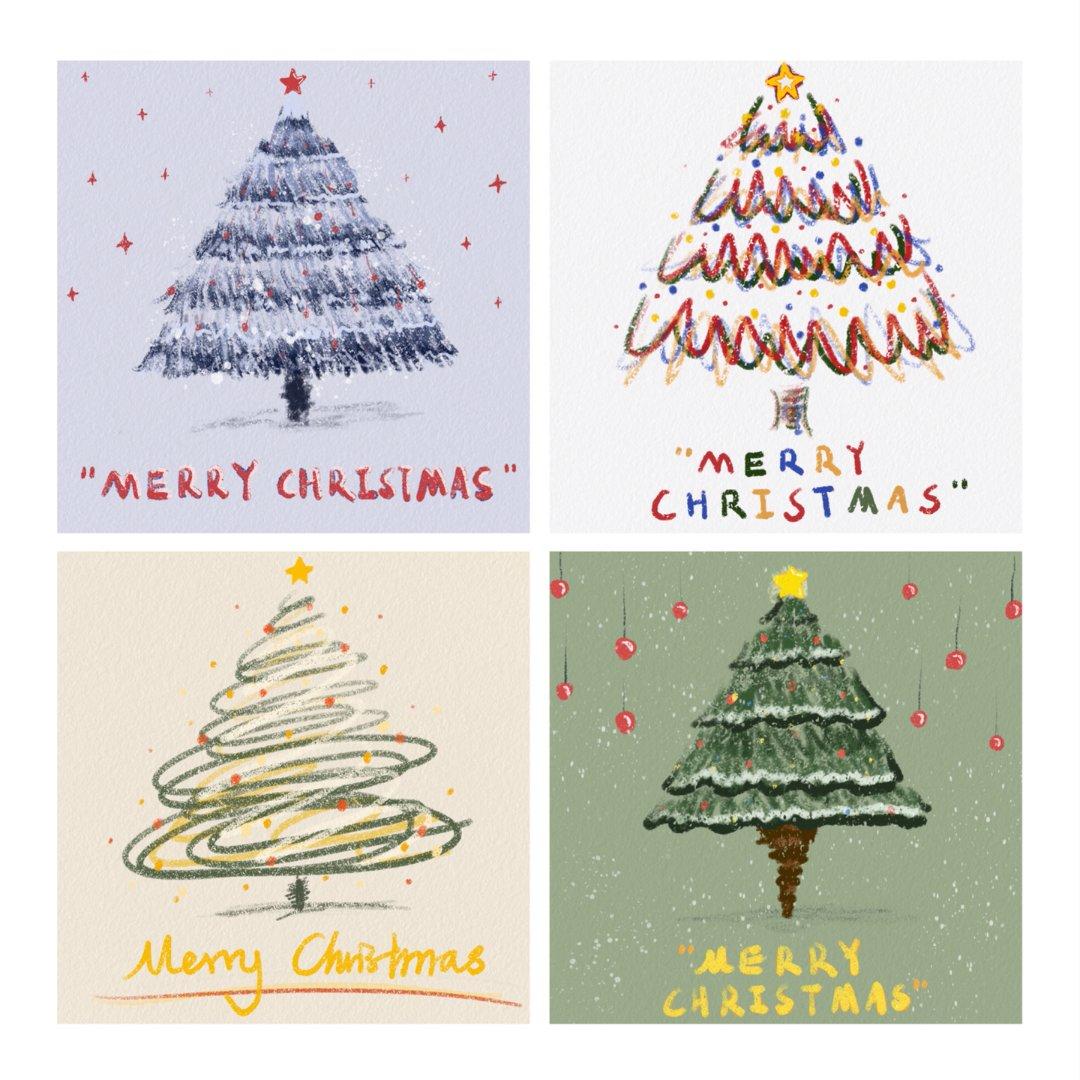 圣诞快乐|送给大家的油画棒圣诞树们🎄