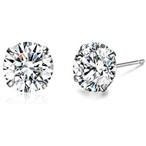 $9 Platinum-Plated Sterling Silver Round-Cut Swarovski Zirconia Stud Earrings