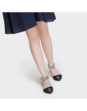 Black Embellished Ankle Strap Flats | CHARLES & KEITH