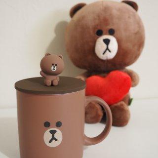 想把你一直捧在手心里LINE FRIENDS布朗熊陶瓷杯