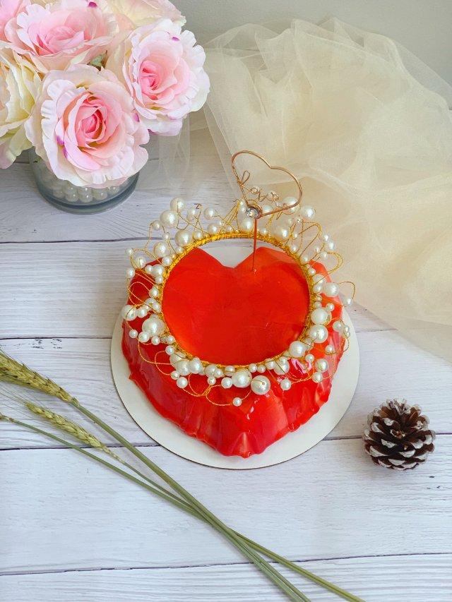 爱心镜面蛋糕,热情如火的爱