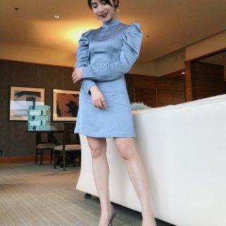 Lady Look~雾蓝色连衣裙...