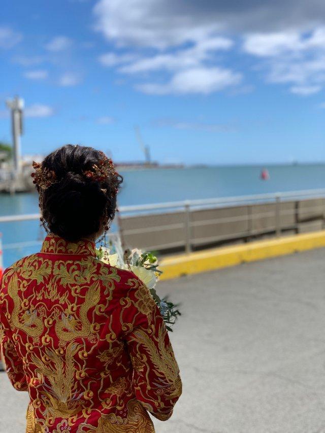 夏威夷轮船上举办了中式婚礼