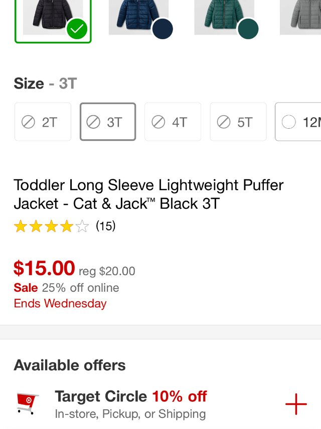 Target好价儿童羽绒服