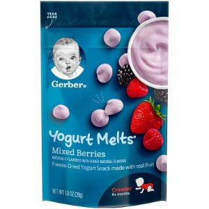 Gerber Graduates Yogurt Melts Freeze-Dried Yogurt & Fruit Snacks Mixed Berries - 1oz : Target