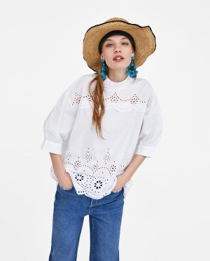 EMBROIDERED BLOUSE WITH PERFORATIONS-SHIRTS I TOPS-WOMAN-SALE | ZARA United States