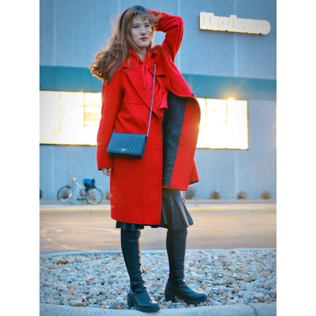 红黑♥️🖤经典配 开年红色穿搭🧥