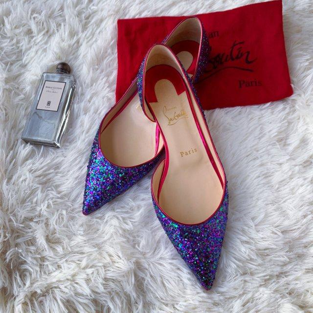 紫色亮片CL平底鞋