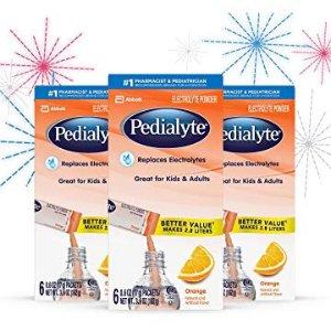 $7.62 有效补水 发烧腹泻流汗必备Pedialyte 橙子味电解质冲剂 宝宝也适用 0.6oz 6条