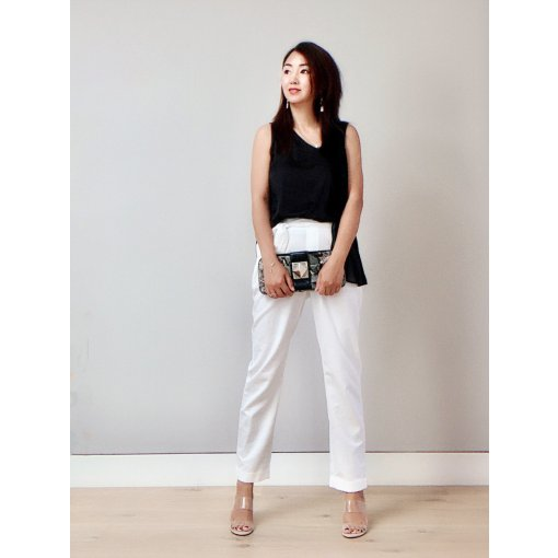 穿搭   白色阔腿裤的时髦气质穿搭,让你出街通勤自信满满