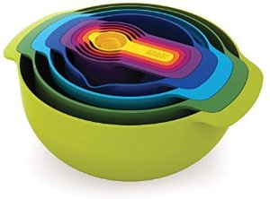 Amazon.com: Joseph Joseph 40031 Nest 9 Nesting Bowls Set with Mixing Bowls Measuring Cups Sieve Colander, 9-Piece, Multicolored: Kitchen Tool Sets: Kitchen & Dining