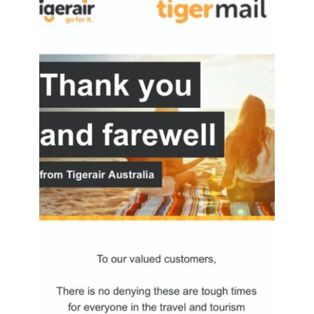 澳洲虎航宣布停运,向顾客发道别邮件