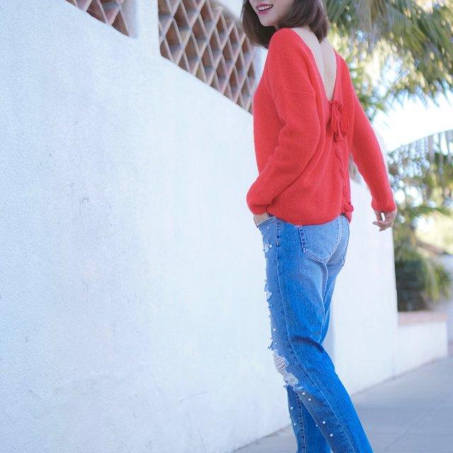 毛衣+牛仔裤这样简单的搭配就靠细节...