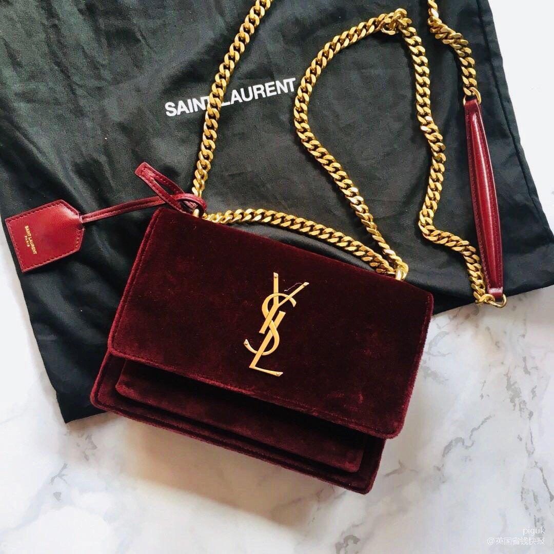 ysl sunset 丝绒链条包