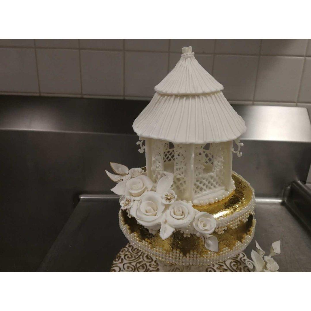 人生第一个⭐️⭐️翻糖婚礼蛋糕⭐️...
