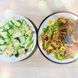 炒青白菜,青黄椒炒牛柳