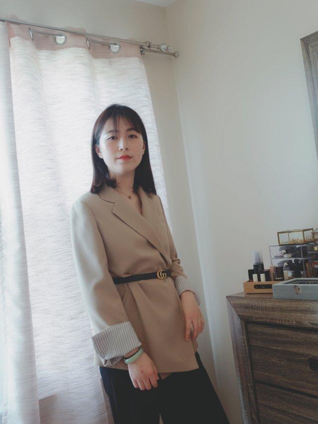 一字米酱的outfit|早春小西装...