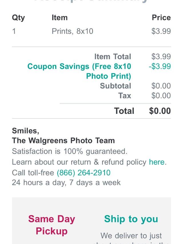 Walgreens 又有免费照片啦