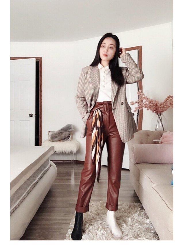 🍁秋日穿搭 |来自H&M的棕色皮裤🍁