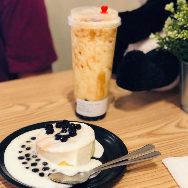 绝配: 珍珠奶盖蛋糕+脏脏奶茶