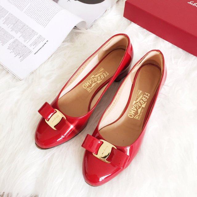 鞋子|菲拉格慕 经典红色蝴蝶结鞋