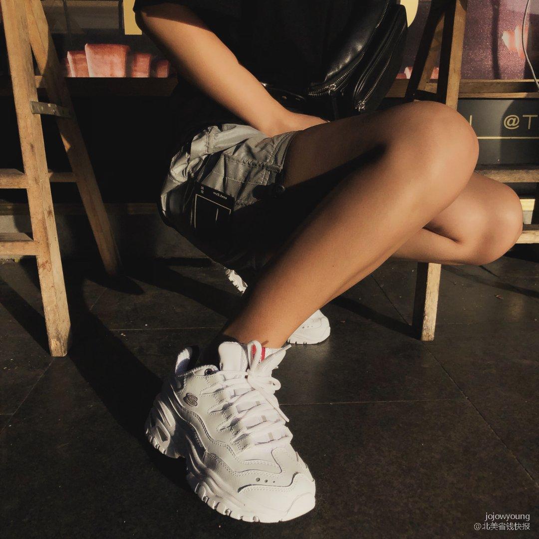 Skechers老爹鞋-小粗腿也能...