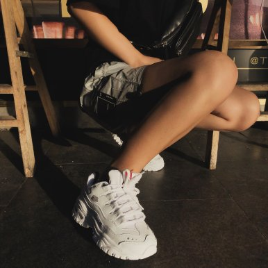 D-Lites 女款老爹鞋 白色、少女粉