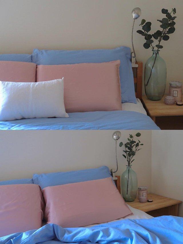 阴天。房间。粉蓝配。