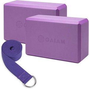 Amazon.com : Gaiam Yoga Block 2 Pack & Strap Set, Deep Purple : Sports & Outdoors