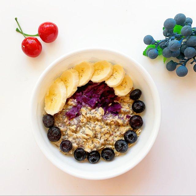 紫薯隔夜燕麦水果早餐Bowl