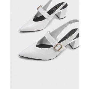 White Mary Jane Slingback Heels | CHARLES & KEITH