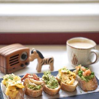 减脂早餐|高颜值开放式法棍三明治...